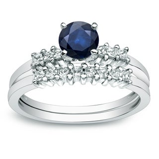 Auriya Platinum 1/2ct Blue Sapphire and 1/2ct TDW Princess Cut Diamond Bridal Ring Set (H-I, I1-I2)