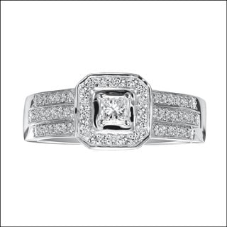 Cambridge Jewelry 10k White Gold 1/2 carat TDW Diamond Engagement Ring