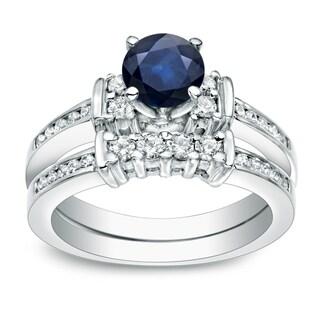Auriya Platinum 3/5ct Blue Sapphire and 2/5ct TDW Round Cut Diamond Bridal Ring Set (H-I, I1-I2)