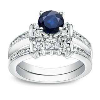 Auriya Platinum 3/5ct Blue Sapphire and 2/5ct TDW Round Cut Diamond Bridal Ring Set (H-I, I1-I2)