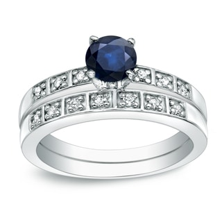 Auriya Platinum 4/5ct Blue Sapphire and 1/5ct TDW Round Cut Diamond Bridal Ring Set (H-I, I1-I2)