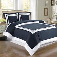 Hotel Cotton Navy and White Duvet Cover 3-piece Set