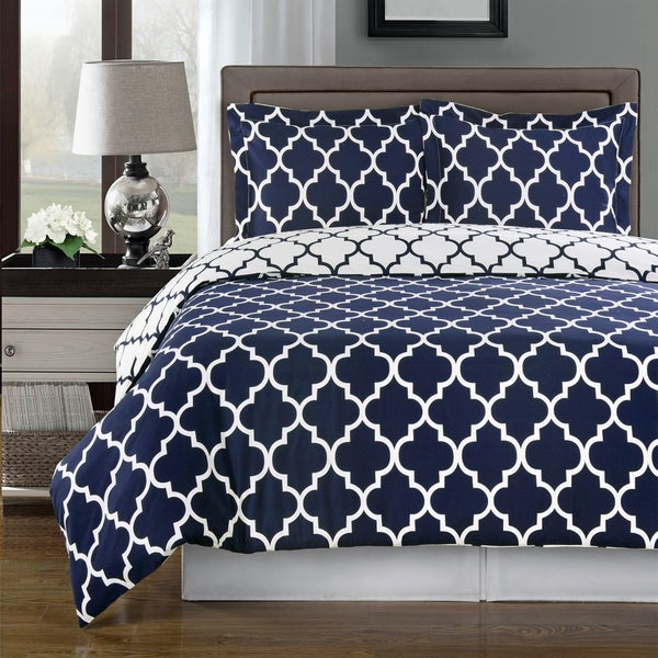 Meridian Cotton Navy And White Duvet Cover 3 Piece Set