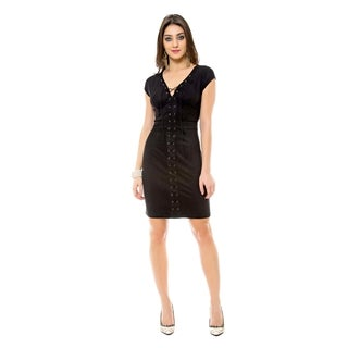 Sara Boo Faux Suede Lace-Up Sheath Dress