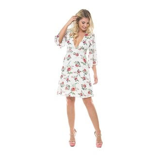 Sara Boo Women's Embroidered Floral 3/4 Sleeve Dress