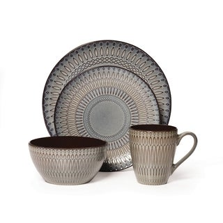 Mikasa Gourmet Basics Broadway Multicolor Stoneware 16-piece Dinnerware Set (Service for 4)  sc 1 st  Overstock : dinner plates sets cheap - pezcame.com