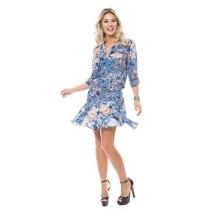 Sara Boo Women's Vintage Blue Viscose Dress (Option: Xs)