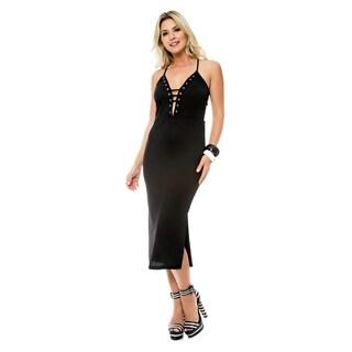Sara Boo Grommet Plunging Midi Dress