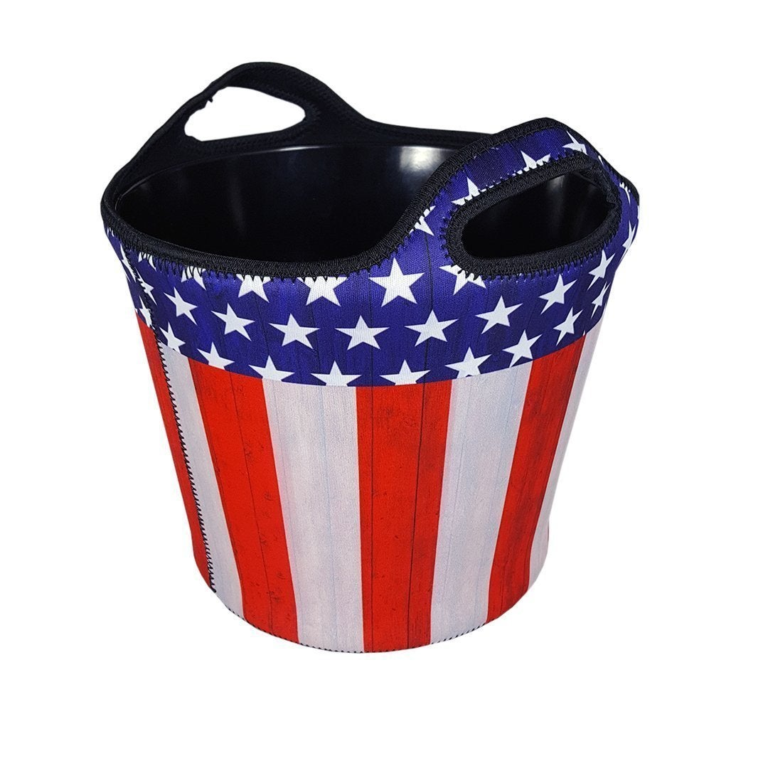 Brekx American Flag Insulated Beverage Bucket Party Chill...