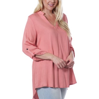 JED Women's Pink Plus-size V-neck Tab-sleeve High-low Tunic Shirt