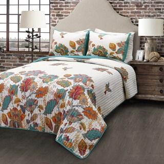 Lush Decor Bird and Flower 3-piece 100-piece Cotton Quilt Set