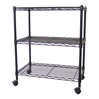 Excel NSF Multi-Purpose 3-Tier Wire Shelving Unit with Casters, 24 in. x 14 in. x 28 in., Black