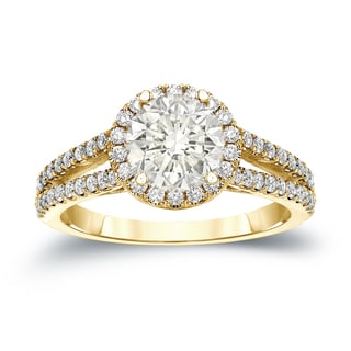 Auriya 14k Gold 1 1/3ct TDW Certified Round Cut Diamond Halo Engagement Ring (J-K, I1-I2)