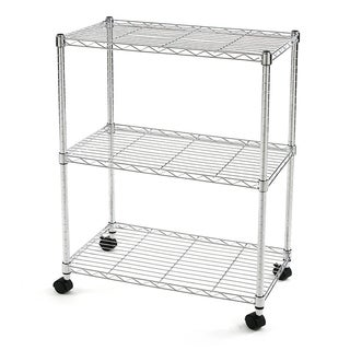 Excel NSF Multi-Purpose 3-Tier Wire Shelving Unit with Casters, 24 in. x 14 in. x 28 in., Chrome