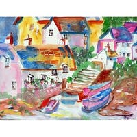 Boats At Steps Outdoor Wall Hanging 24x30