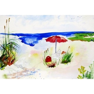 Red Beach Umbrella Outdoor Wall Hanging 24x30