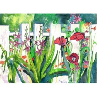 Fence & Flowers Outdoor Wall Hanging 24x30