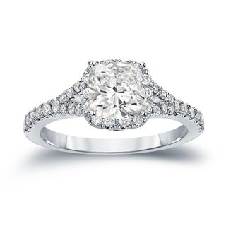 Auriya 14k Gold 1 1/2ct TDW Certified Cushion Cut Diamond Halo Engagement Ring (H-I, I1-I2)