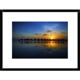 Global Gallery, Louise Wolbers 'Sunset Camel Ride' Framed Giclee Print