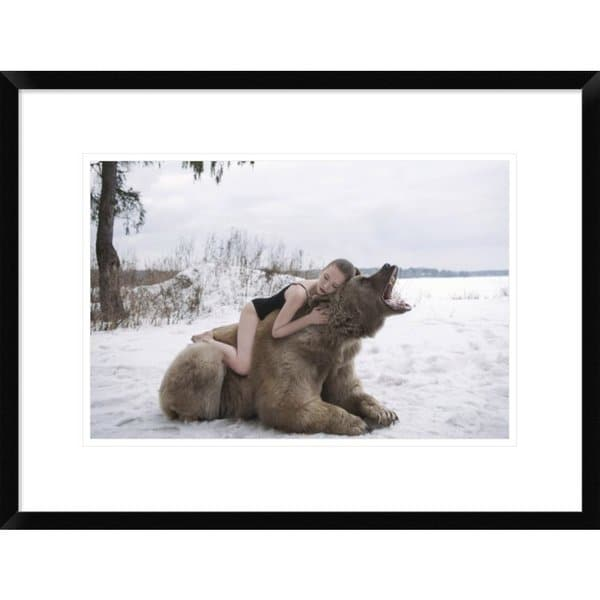 Global Gallery, Olga Barantseva \'Napping on a Bear\' Framed Giclee ...