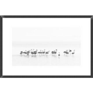 Global Gallery, Joan Gil Raga 'Flamingos' Framed Giclee Print