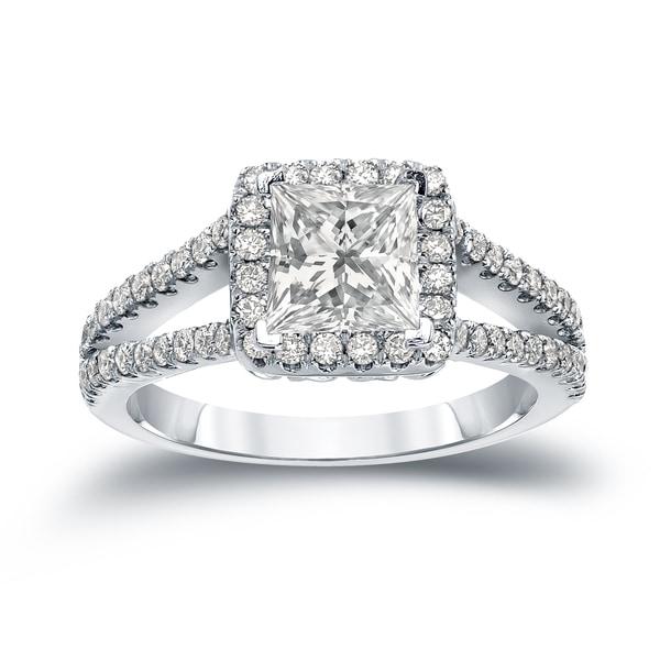 Auriya 14k Gold 1 1/4ct TDW Certified Princess Cut Halo Diamond Engagement Ring