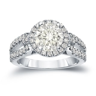 Auriya 14k Gold 1 1/2ct TDW Certified Round Cut Diamond Halo Engagement Ring (J-K, I1-I2)