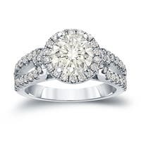 14k Gold Round 1 1/2ct TDW Certified Diamond Halo Engagement Ring by Auriya