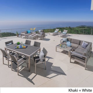 Cape Coral Outdoor 18-piece Entertainment Seating Set with Cushions by Christopher Knight Home (2 options available)