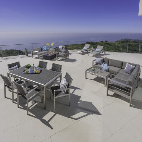 Cape Coral Outdoor 18-piece Entertainment Seating Set with Cushions by Christopher Knight Home