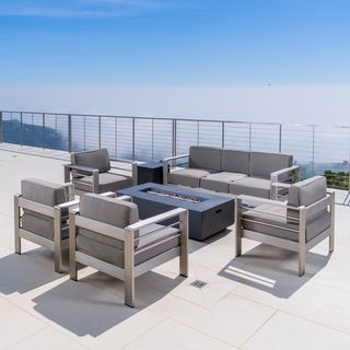 Christopher Knight Home Cape Coral Outdoor Aluminum 7-piece Seating Set with Fire Pit, Cushions
