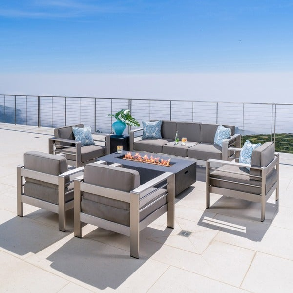Shop Cape Coral Outdoor Aluminum 7 Piece Seating Set With