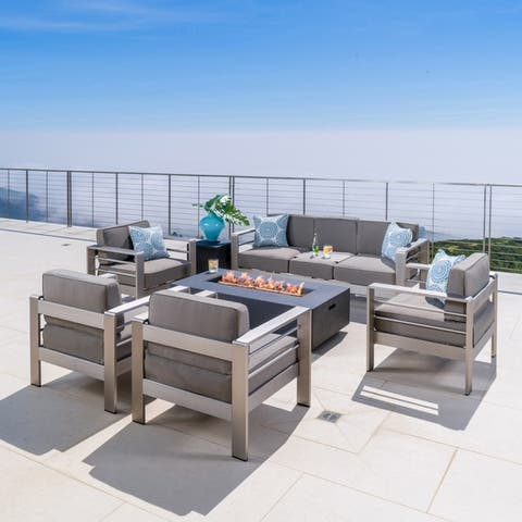 Cape Coral Outdoor Aluminum 7 Seater Chat Set with Fire Pit by Christopher Knight Home