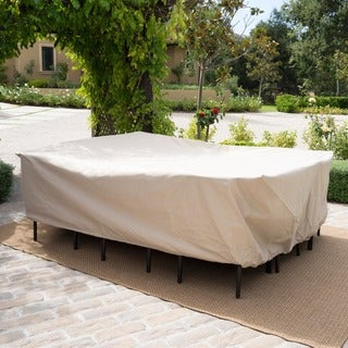 Shield Outdoor Waterproof Fabric Dining Set Patio Cover by Christopher Knight Home (Option: Beige)