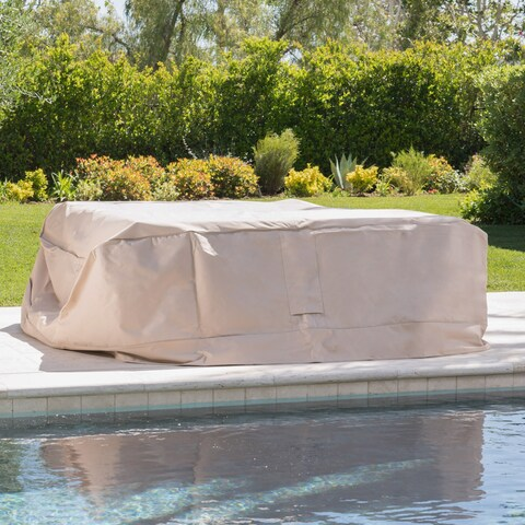 Shield Outdoor Waterproof Fabric Chat Set Patio Cover in Natural by Christopher Knight Home