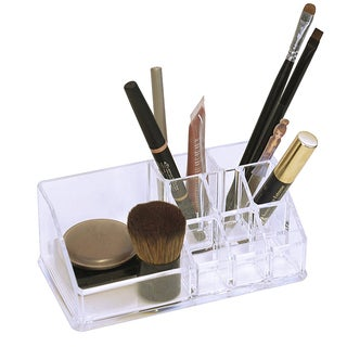 Acrylic 9 Compartment Brush and Cosmetics Holder