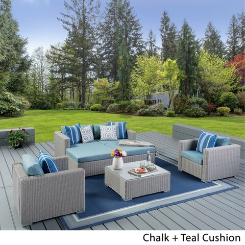 Santa Rosa Outdoor 7-piece Wicker Sectional Sofa Set with Cushions by Christopher Knight Home