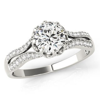 Transcendent Brilliance Curved Cathedral Split Shank Diamond Engagement Ring 18k Gold 1 1/10 TDW