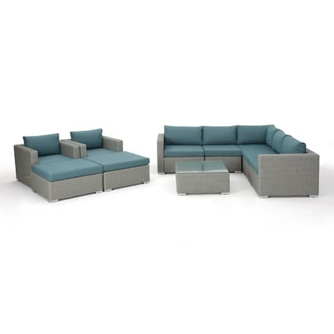 Santa Rosa Outdoor 10-piece Wicker Sectional Sofa Set with Cushions by Christopher Knight Home