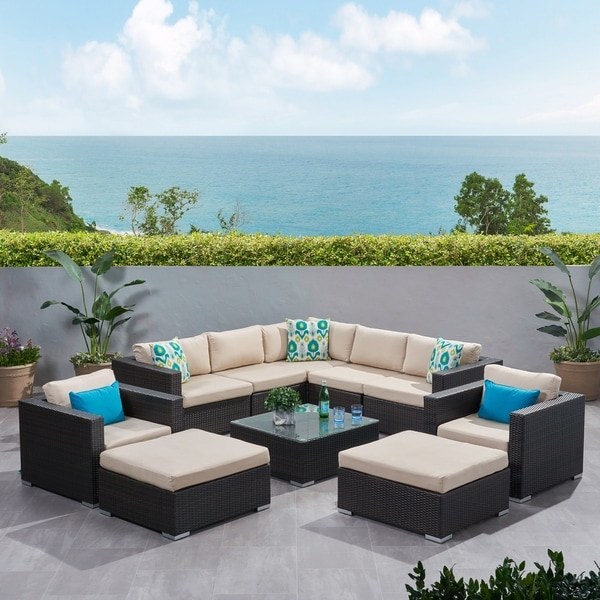 Shop Santa Rosa Outdoor 10-piece Wicker Sectional Sofa Set ...