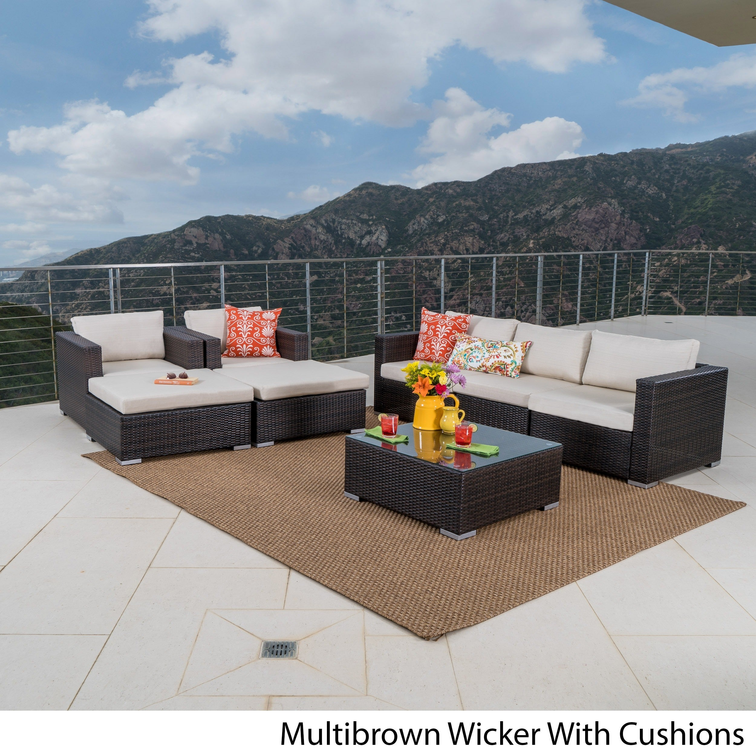 Santa Rosa Outdoor 8-piece Wicker Sectional Sofa Set with...