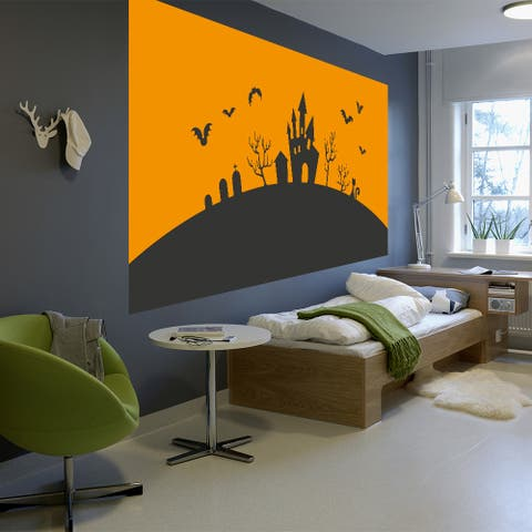 Full Color Bats Sunsent Halloween House Full Color Wall Decal Sticker Sticker Decal (48 x 76)