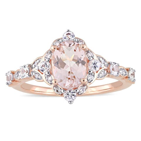 14k Rose Gold Morganite White Sapphire and Diamond Accent Vintage Ring by Miadora