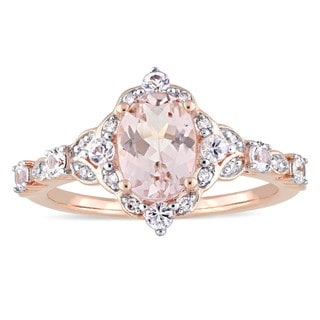 Vintage Morganite White Sapphire and Diamond Ring in 14k Rose Gold by Miadora
