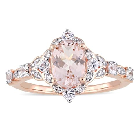 Miadora Signature Collection 14k Rose Gold Morganite White Sapphire and Diamond Accent Engagement Ring