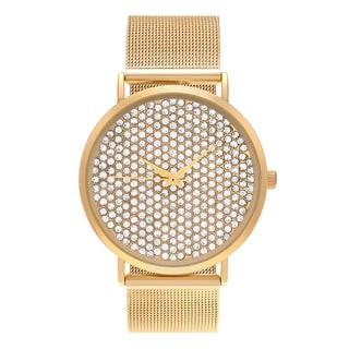 Journee Collection Women's Rhinestone Dial Mesh Bracelet Watch