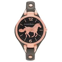 Journee Collection Women's Round Face Horse Emblem Dial Faux Leather Strap Watch