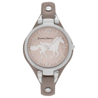 Journee Collection Women's Round Face Horse Emblem Dial Faux Leather Strap Watch - SAND