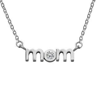 18K Gold Block Letter MOM Pendant with Cubic Zirconia - Mother's Day Pendant