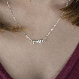 14k Gold Block Letter MOM Pendant with Diamonds (0.1 Cts., G-H, SI2-I1) - Mother's Day Pendant